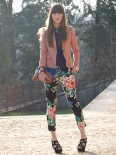 H pants, blazer and shirt, Topshop wedges, Zara clutch