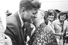 US President John F. Kennedy being kissed by his cousin Mary Ryan while cousins Eunice Shriver (R) and Jean Kennedy Smith (2R) look on during his arrival to visit his ancestral hometown.Dunganstown, Wexford, Ireland  1963 ❤❁❤❁❤❁❤❁❤❁❤ http://en.wikipedia.org/wiki/John_F._Kennedy  http://en.wikipedia.org/wiki/JFK_in_Ireland http://www.jfklibrary.org/JFK/JFK-in-History/John-F-Kennedy-and-Ireland.aspx     :