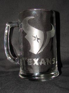 NFL Houston Texans Logo Hand Etched on 15 oz Beer Mug. $10.00, via Etsy.