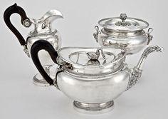 A FINE ANTIQUE BELGIAN EMPIRE SILVER TEA SET: EAGLE AND SWAN, NR #BELGIANMAKERMARK