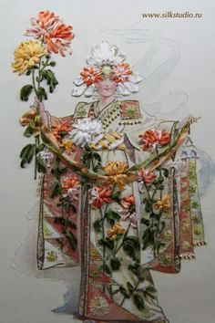 Wonderful Ribbon Embroidery Flowers by Hand Ideas. Enchanting Ribbon Embroidery Flowers by Hand Ideas. Ribon Embroidery, Ribbon Embroidery Tutorial, Learn Embroidery, Cross Stitch Embroidery, Embroidery Patterns, Japanese Quilts, Brazilian Embroidery, Ribbon Art, Japanese Embroidery