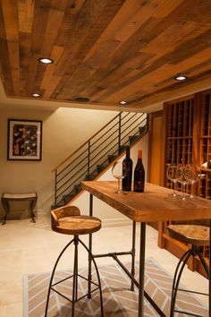 Downstairs, invite guests to a wine tasting in the chic, rustic wine cellar…