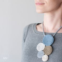 Necklace crochet circles. Blue & Beige , via Etsy.