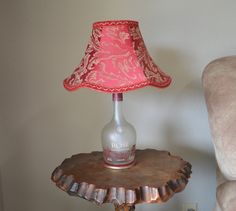 Frosted Glass Bottle Lamp with Red and Gold Pattern Fabric Shade by DuenasUpcycleDesigns on Etsy