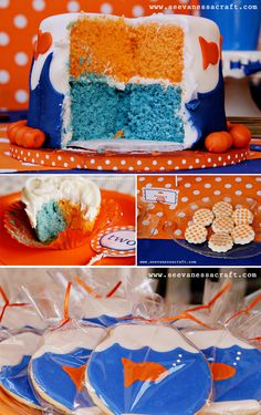 must make this cake for football season (it's from a very cute polka dot goldfish party) 3rd Birthday Parties, Birthday Bash, Birthday Ideas, Goldfish Party, Goldfish Cake, Chocolates, Color Naranja, Childrens Party, Party Cakes