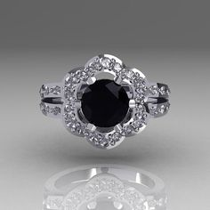 Classic 10K White Gold 1.0 Carat Black and White by artmasters