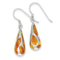 Sterling Silver Orange Resin Raindrop Earrings