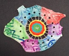 4th grade clay and fiber arts- neat idea.  Maybe make weaving first on plate or cd then attach to clay
