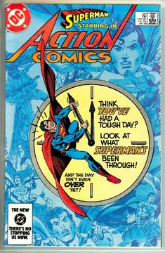 """""""Superman: Friend or Foe?"""": Superman races the clock to bring an antidote to two dying children while battling emergencies around the globe. Action Comics is an issue of the series Action Comics (Volume with a cover date of January, Superman Action Comics, Superman Comic Books, Superman Art, Superman Family, Batman, Spiderman, Comic Books For Sale, Best Comic Books, Free Comics"""