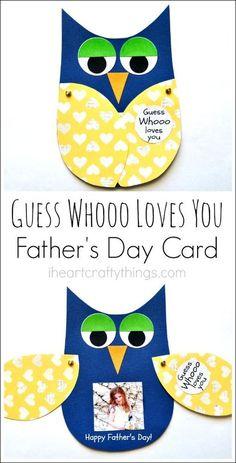 """Guess Whooo loves you"" and the wings open… Kinder basteln DIY Vatertagskarte. ""Guess Whooo loves you"" und die Flügel öffnen sich mit einem Kinderfoto. Toddler Crafts, Preschool Crafts, Diy Crafts For Kids, Gifts For Kids, Craft Ideas, Kids Diy, Simple Crafts, Food Ideas, Fathers Day Crafts"