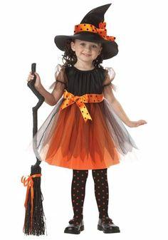 fantasia bruxa infantil preto e alaranjado