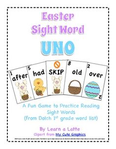 Easter Sight Word UNO - FREE printable game with 1st grade sight words