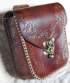 Medieval Leather Belt Pouch Brown Floral, SCA, LARP. $65.99, via Etsy.