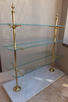 Edwardian Marble Based Brass & Glass Patisserie Shelves