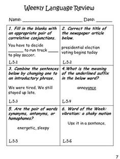 5th Grade Common Core Language Weekly Daily Review Warmups $4 for 20 pages