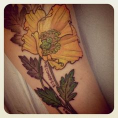 Beautiful yellow poppy tattoo... make it red with white boarders for Gramma