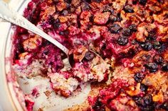 Chock full of nutritional treats, this breakfast bake might be a family favorite. Baked Breakfast Recipes, Baked Oatmeal Recipes, Breakfast Bake, Breakfast Ideas, Some Recipe, Recipe Using, Vegan Whipped Cream, Vegetable Smoothies, Berries