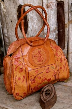 Vintage leather Handbag Indian women engraved by concealedjewel, $59.99