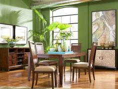The Campton Rectangular Dining Room features a smooth wooden table with cushioned seating