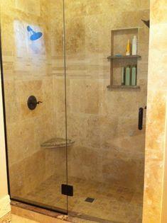 Travertine Shower Ideas master bathroom ideas: travertine tile on walls, with dual shampoo