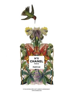 i, personally, will never get tired of illustrations of flowers and birds!! CHANEL Flower Bottle