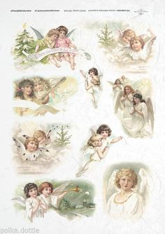 Rice Paper Decoupage Scrapbook Cute Vintage Angels Christmas Shabby Chic