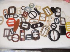 Vintage lot of 44 Antique Assorted Belt Buckles, MOP, vintage plastics, fabric #VintageAntique