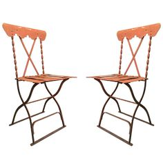 A Pair of French Iron Garden Chairs   From a unique collection of antique and modern garden furniture at http://www.1stdibs.com/furniture/building-garden/garden-furniture/