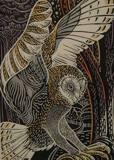 'Barn Owl' by Annie Soudain (linocut) Owl Art, Bird Art, Art And Illustration, Linocut Prints, Art Prints, Block Prints, Wood Engraving, Woodblock Print, Art Images