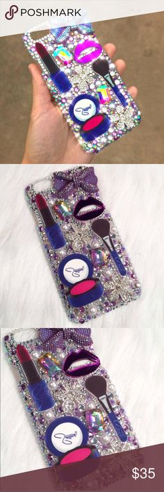 Bling Rhinestone Mac Selena Makeup iPhone 6s Case This listing is for a gorgeous purple/silver Selena makeup inspired iPhone 6/6s case. Case features purple/silver rhinestones, white pearls, Selena makeup cabochons, ab gems, and silver alloy metal cabochons.   Case is handmade by me. Each rhinestone is placed one by one with quality adhesive to keep rhinestones secured. Each case is unique and one of a kind.   Check out my etsy for discounted shipping! Link in my about me.  Accessories Phone…