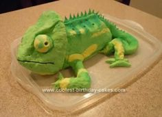 Homemade Chameleon Cake: Here is attempt #2 at a cool reptile birthday cake for my son. My other cake is the orange and white Burmese Python Cake on this website. He was having