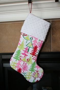 Pink and Green Yule Trees CHRISTMAS STOCKING by modthirteen