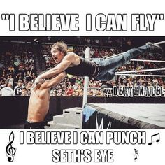 I think about it every night and day, clench my fist and punch away haha lol not any Wwe Dean Ambrose, Dean Ambrose Funny, Wwe Quotes, Fc Barcalona, Wwe Funny, Funny Jokes, Hilarious, Wrestling Memes, Wwe Pictures
