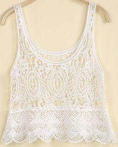 White Sleeveless Hollow Floral Crochet Vest US$19.25