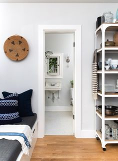 A Designer's 370 Rennovated Square Feet in Portland, OR | Design*Sponge (Also, that basket and that shelf)