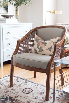cane back barrel chairs with light blue fabric and patterned pillows chair Turning a Rental into a Chic and Girly Bachelorette Pad on a Budget Living Room Chairs, Living Room Decor, Living Spaces, Dining Chairs, Small Living, Modern Living, Living Rooms, Cane Back Chairs, Barrel Chair