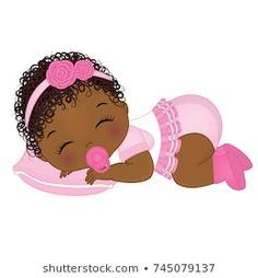 Vector cute African American baby girl sleeping. Vector baby girl. African American baby girl vector illustration