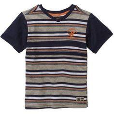Beverly Hills Polo Club Boys' Yarn-Dye V-Neck Short Sleeve Tee, Size: XL(18/20), Blue