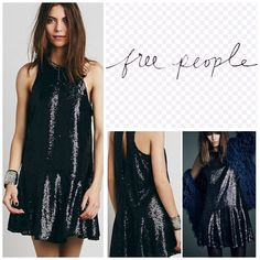 """Free People Black Liquid Sequin Mini Dress.  NWT. Free People Black Liquid Sequin Mini Dress, 100% nylon, washable, 19"""" armpit to armpit (38"""" all around), 46"""" dropped waist, 34"""" length, sparkle all night in this sequin covered dope waist mini, back keyhole cutout, hook and eye closure at nape, lined, measurements are approx. ...No Trades... Free People Dresses Mini"""