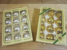 """24 Pieces of Vintage Holly and Pyramid Brands Glass Christmas Ornaments * 2 Boxes of 12 Silver & Gold Glass Ornaments * Size 2 1/4"""" Diameter by RainbowConnection15 on Etsy"""