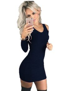 Centralsky Womens Sexy Casual Slim Long Sleeve Maxi Knitted Thin Sweater Dress Blue S * More info could be found at the image url. (This is an affiliate link) #SexyDressesForTeen