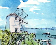 "Paros Wind Mill, Greece, 12"" x 8"" print of watercolor painting drawing, signed"