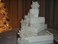wedding cake with Edible snow flakes!
