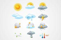 Иконки Погода: Солнце, облака, дождь и молнии (бесплатно)