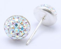 Swarovski Earstuds, with Sterling Silver Finding, 001-Crystal, AB, Size: Earring: about 8mm in diameter; Pin: about 0.8mm