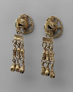Pair of Ear Ornament Frontals  Date: 15th–16th century Geography: Mexico, Mesoamerica Culture: Aztec or Mixtec Medium: Gold