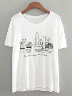 Shop White Short Sleeve Cactus Embroidered T-Shirt online. SheIn offers White Short Sleeve Cactus Embroidered T-Shirt & more to fit your fashionable needs.