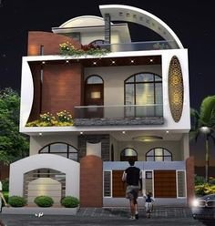 The exterior is the face of the house that everyone will see in the first part. Take a look at the world's most beautiful modern homes and find Exterior Wall Design, Modern Exterior House Designs, Modern Villa Design, Facade Design, House Outside Design, House Front Design, Small House Design, Model House Plan, House Plans