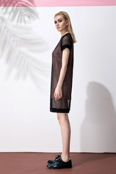 Mesh perspective double layer dress - FrontRowShop $28.80