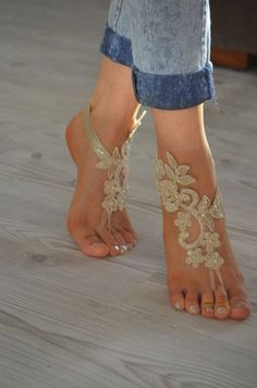 Champagne, french lace #sandals, wedding anklet, Beach wedding barefoot #sandals, embroidered #sandals.